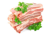 Fresh raw meat with greens Royalty Free Stock Images