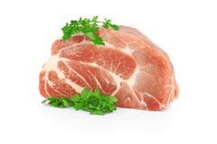 Fresh raw meat with greens Stock Photography