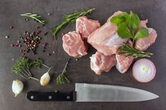 Fresh raw meat with herbs, spices and a butcher knife lies on th. E surface of a dark stone. Cooking concept Stock Image