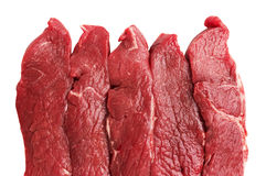 Fresh Raw Meat. Isolated on white background Stock Photos