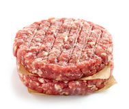 Fresh raw meat. For making a burger  on white background Stock Photos