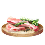Fresh raw meat mutton lamb with herbs on a plate. Stock Images
