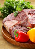 Fresh raw meat ossobuco. On a wooden board Royalty Free Stock Photography