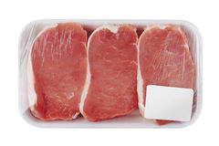 Fresh Raw Meat in package. Isolated on white background Stock Photography