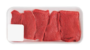 Fresh Raw Meat in package. Isolated on white background Royalty Free Stock Photo