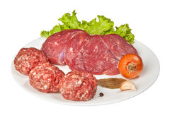 Fresh raw meat on the plate Royalty Free Stock Photography