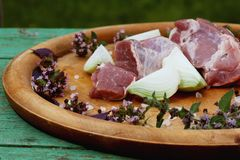 Fresh raw meat on a platter with. Herbs Royalty Free Stock Photo