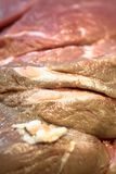 Fresh raw meat of pork and beef close up. Fresh and raw meat ready to cook on the grill or BBQ Stock Photo