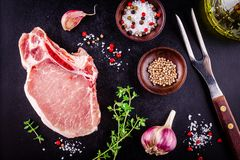 Fresh raw meat of pork on a dark background. Top view Royalty Free Stock Image