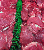 Fresh raw meat. Rows of fresh raw meat on market Royalty Free Stock Images