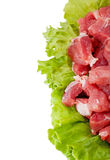 Fresh raw meat and salad isolated. On white Royalty Free Stock Images