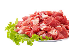 Fresh raw meat and salad isolated on white. Fresh raw meat and salad isolated Stock Photos