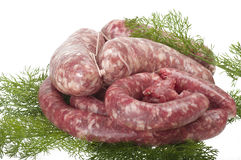 Fresh raw meat sausages Royalty Free Stock Image