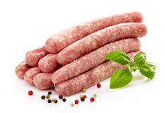 Fresh raw meat sausages Royalty Free Stock Images