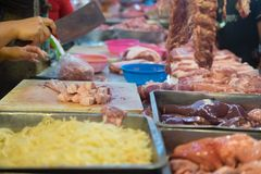 Fresh raw meat, sliced pork at the morning market. In Thailand Royalty Free Stock Photography
