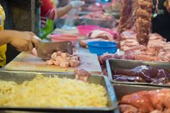 Fresh raw meat, sliced pork at the morning market. In Thailand Stock Photography