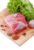Fresh raw meat. And spices Stock Photo