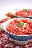 Fresh raw meat. With spices in a bowl Stock Photo