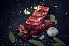 Fresh raw meat. Spices and garlic. On a cutting board on a black background. Top view, copy space Stock Photography