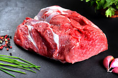 Fresh and raw meat. Still life of red meat steak ready to cook on the barbecue Royalty Free Stock Photography
