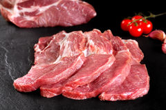 Fresh and raw meat. Still life of steaks ready for cooking, barbecue. Stock Photo