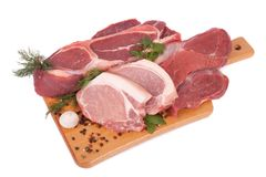 Fresh raw meat. Fresh tasty raw meat on white surface Royalty Free Stock Photo