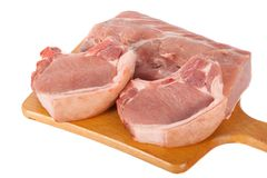 Fresh raw meat. Fresh tasty raw meat on white surface Stock Photo