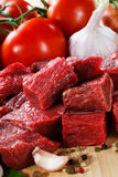 Fresh raw beef. Fresh raw meat and vegetables Stock Photography