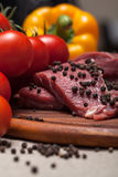 Fresh raw meat. On wooden board Stock Photo