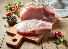 Fresh raw meat. On wooden cutting board Stock Image