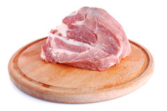 Fresh raw meat on wooden plate Stock Image