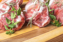 Fresh raw meat. On wooden table Royalty Free Stock Photos
