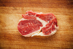 Fresh raw meat. On wooden tray Stock Images