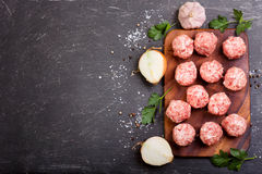 Fresh raw meatballs with vegetables. On dark table Stock Images