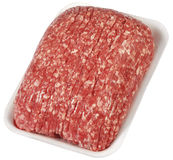 Fresh raw mince beef meat on white tray isolated over white background. Fresh raw mince beef meat Stock Images
