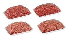 Fresh raw mince beef meat on white tray isolated over white background. Fresh raw mince beef meat Royalty Free Stock Images
