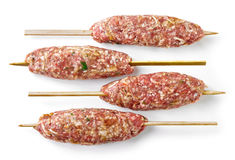 Fresh raw minced lamb meat skewers Stock Photography
