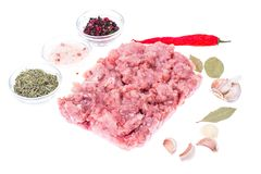 Fresh raw minced meat for cooking. Studio Photo Stock Photography