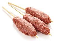Fresh raw minced meat skewers kebabs Royalty Free Stock Photo