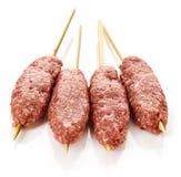 Fresh raw minced meat skewers kebabs Royalty Free Stock Image
