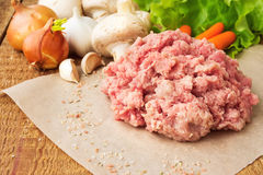 Fresh raw minced meat on wood table, with vegetables. Fresh raw minced meat on wooden table, with vegetables Royalty Free Stock Images