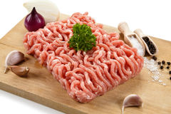 Fresh raw minced meat. Fresh raw meat on wooden desk Royalty Free Stock Photo