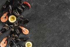 Fresh raw mussels and shrimp with spices and lemon on dark stone background. Seafood, top view, flat lay, copy space.  stock image