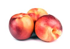 Fresh raw nectarine isolated on white Royalty Free Stock Photography