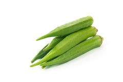 Fresh raw okra. Isolated on white background Royalty Free Stock Photo