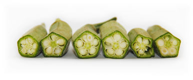 Fresh raw okra. Isolated on white background Royalty Free Stock Images