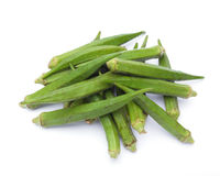 Fresh raw okra isolated. On white background Stock Photography