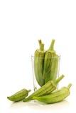 Fresh raw okra pods(Abelmoschus esculentus) Stock Photo