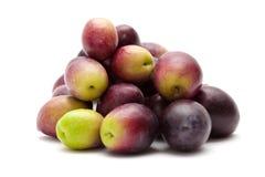 Fresh raw olives. Isolated on white Royalty Free Stock Image