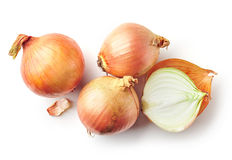 Fresh raw onions on white background. Fresh raw onions isolated on white background, top view Stock Photography